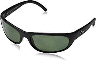 RAY-BAN RB4033 Polarized Rectangular Sunglasses, Matte Black/Polarized Green, 60 mm