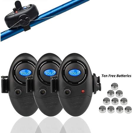Shackcom 3 Sistema Electrónico Alarma Pesca de mordida picada de Pescado Sensible con indicador - Luminoso LED Ajuste de Sonido Vibración en la caña de Pescar Equipo de Pesca de Pescadores