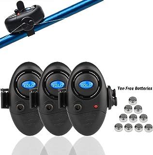Shackcom 3 Sistema Electrónico Alarma Pesca de mordida picada de Pescado Sensible con indicador - Luminoso LED Ajuste de S...