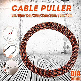DELAMZ - 5-40M 5mm Guide Device Fiberglass Electric Cable Push Pullers Duct Snakes Rodder Fish Tape Wire +2 pcs Cable Tensioner