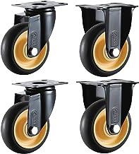 Meubelwielen (75/100 mm) - Stil zwenkwiel, oriëntatie/universele rubberen wielen, met rem/zwaar uitgevoerd 300 kg (4 stuks)