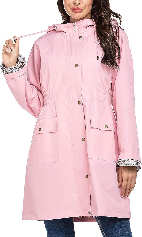 SoTeer Rain Jacket Women Floral Lined Hooded Lightweight Raincoat Waterproof Outdoor Windbreaker S-XXL