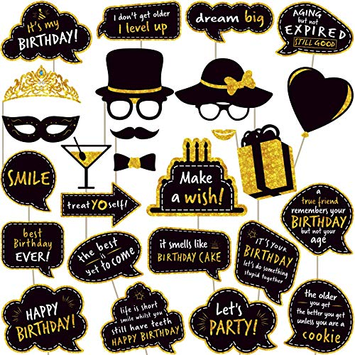 Birthday Photo Booth Props – (No Glitter) Large and Durable, Black and Gold Birthday Party Photobooth Props and Signs…