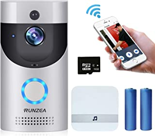 WiFi Video Doorbell,Smart Home Security Camera with Indoor Chime,16G Memory Storage,2X 18650 Batteries,2-Way Talk,Night Vision,PIR Motion Detection,APP Control for iOS Android Google &Smart Home