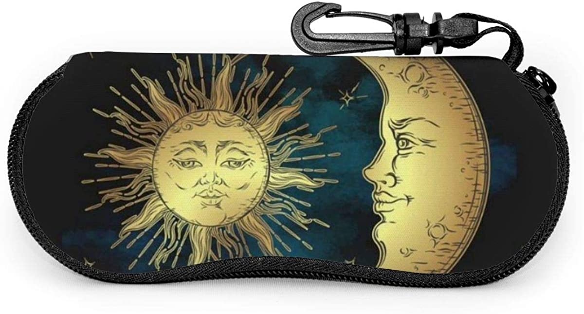 Antique Boho Decor Golden Sun Moon And Stars Over Blue Sky Sunglasses Soft Case Ultra Light Neoprene Zipper Eyeglass Case With Key Chain