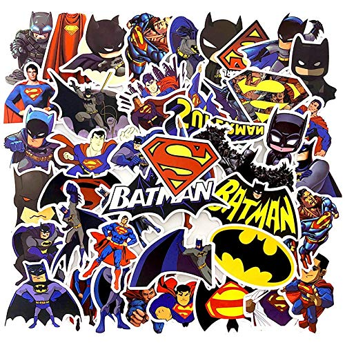 XCVBN Superhéroe Superman Batman Pegatinas Graffiti Pegatinas para Equipaje teléfono monopatín Loptop Bicicleta Pared Guitarra Scrapbooking 45 Piezas