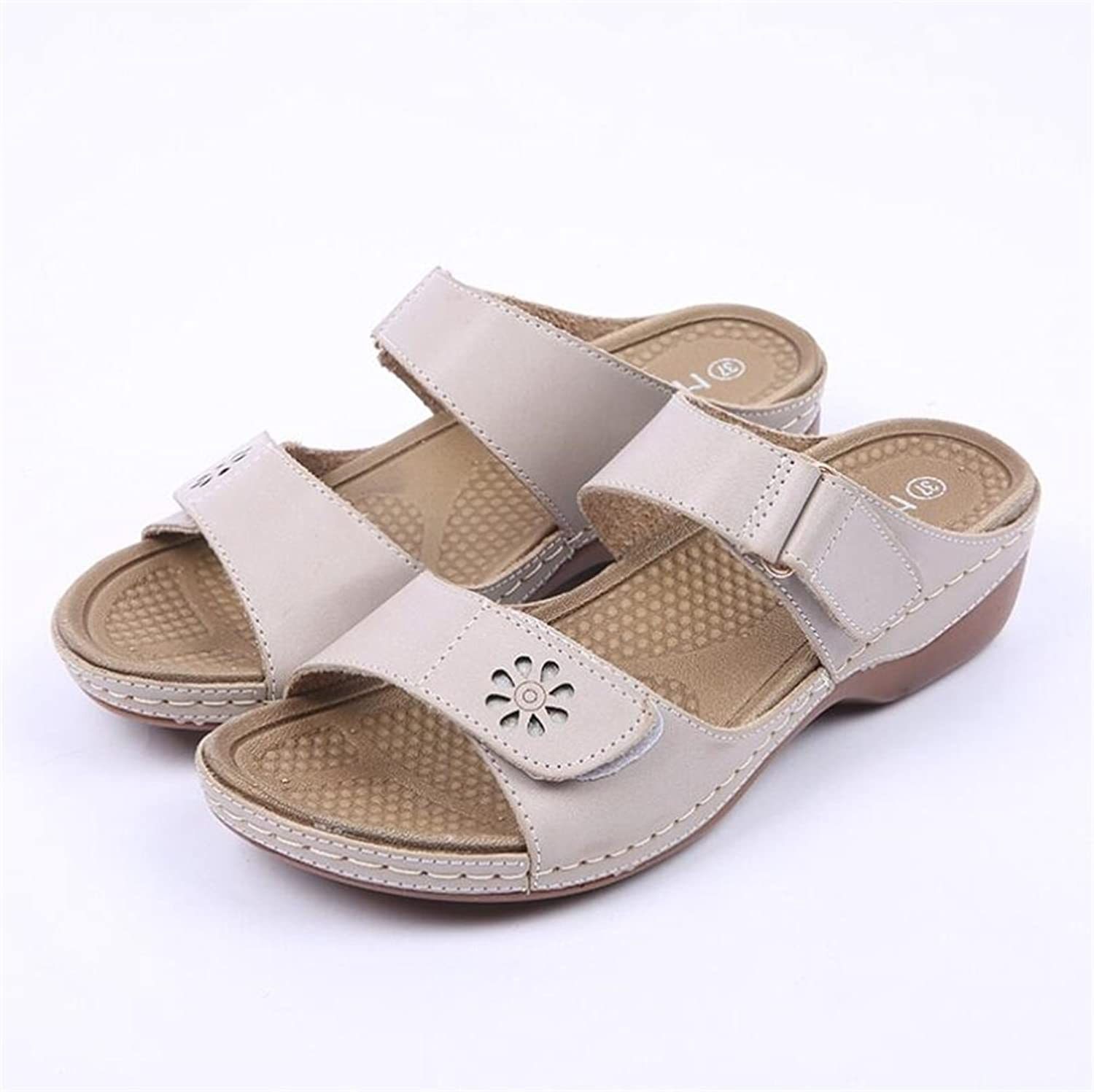 Exing Women's shoes New Summer Sandals Slipper Mom shoes Rome Style Wedge Heel Velcro Ladies shoes Sandals