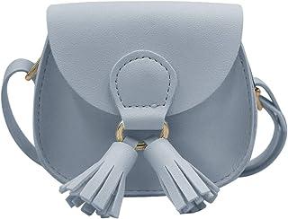 RARITYUS حقيبة كتف جلد PU محفظة عملة مع شرابة صغيرة حقائب يد كروسبودي للأطفال البنات, , ازرق فاتح - RAbb-181104101Z-06