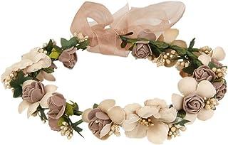 UEETEK Flores cabello Garland diadema rosa con cuentas banda