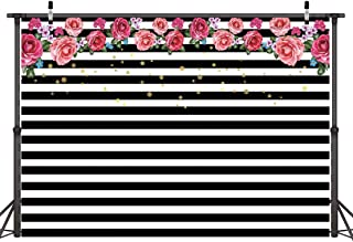 Dudaacvt 7x5ft Photography Backdrops Black and White Stripe Background Pink Rose Flower Birthday Party Wedding Photo Studio Booth D025