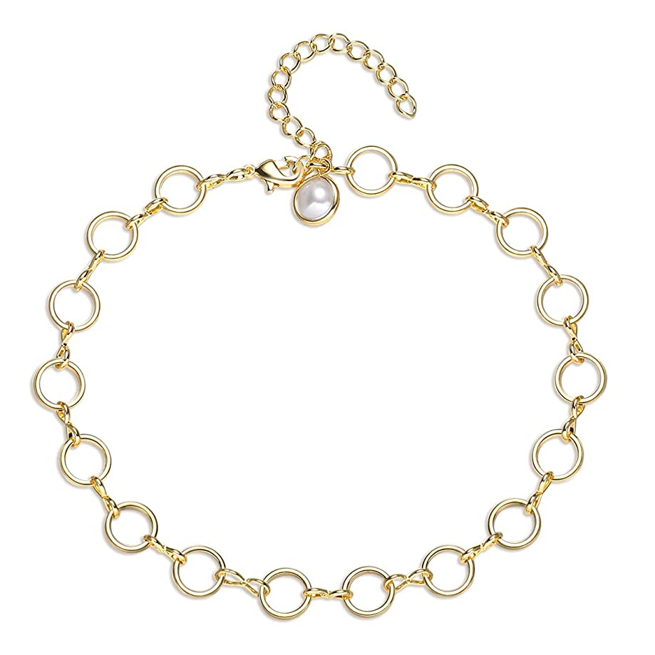 VACRONA Gold Layered Anklet,14k Gold Filled Boho Cute Dainty Handmade Layering Bead Crystal Dangle Karma Circle Box Foot Chain Link Anklet Bracelet for Womens