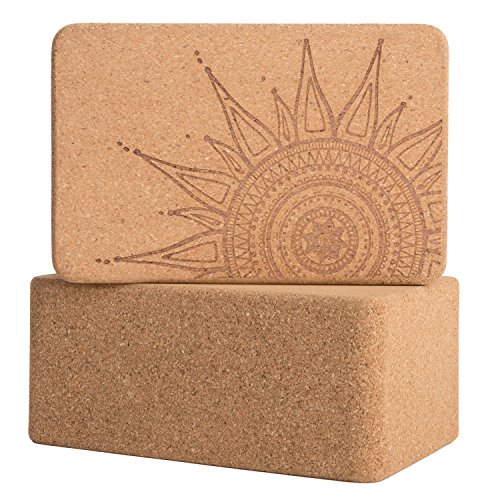 Cork Wood Yoga Blocks with Premium Designs, 2 Pack