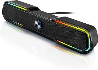 ARCHEER PC-luidspreker, pc, gaming-soundbar met RGB-ledlampen, stereogeluid, dual-kanaal-multimedia, voor computer, laptop...