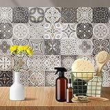 24pcs Impermeable Mosaico Etiqueta de la Pared del azulejo Mixta Estilo Impreso Vintage Etiquetas Retro del azulejo Impermeable a Prueba de Aceite la Pared Protectora Etiqueta de Cocina Baño