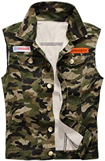 Mens Slim Camouflage Demin Jeans Gilets Sleeveless Jacket Waistcoat Top Vest