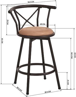 Taburete de bar Conjunto de 2 sillas de bar Taburetes de bar industriales de estilo vintage