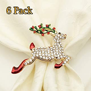 LogHog Christmas Napkin Rings Reindeer Set of 6,Delicate Deer Napkin Ring Holder with Bling Rhinestones,Table Decorations for Christmas Holiday Wedding Banquet Birthday Daily Gathering.(Gold Deer)