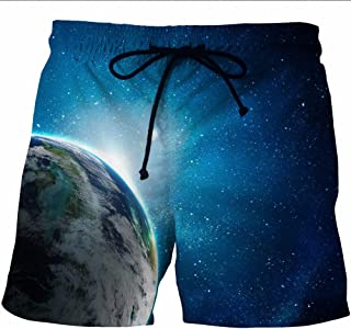 Mens Swimming Trunks Shorts,Summer Hawaiian Boardshorts Simple 3D Starry Sky Earth Beach Shorts Quick Dry Breathable With ...