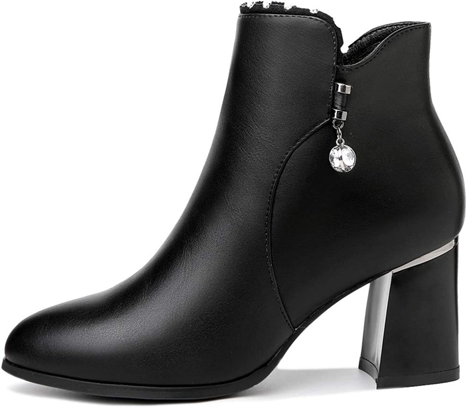 Women's Leather Boots, Autumn Winter New Thick Heel Booties Women's Martin Boots Winter shoes (color   B, Size   36)