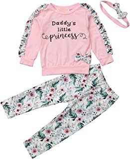 Toddler Baby Little Girls Fall Clothes Long Sleeve Ruffle T Shirts Tops Floral Legging Pants Cute Outfits Clothing Suit Set