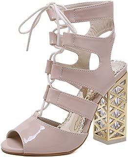 ANZLOU& Gladiator Hollow peep Toe Shoes Luxury Chunky high Heels Slides Luxury lace up
