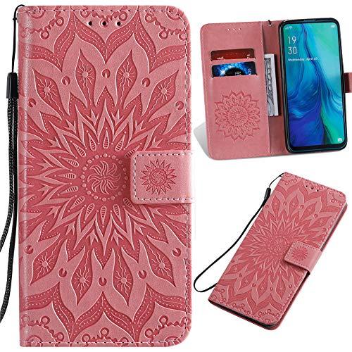 Capa carteira XYX para Galaxy A51, Samsung A51 Girassol Capa protetora de couro PU para Samsung A51 SM-A515 (Rosa)