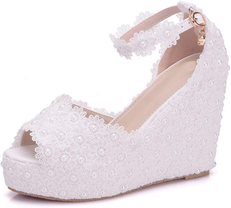 Qiusa Damen Blaumen besetzt Wedge High Heel Elfenbein Braut Hochzeit Sandalen UK 4.5 (Farbe   -, Größe   -)  | eine breite Palette von Produkten