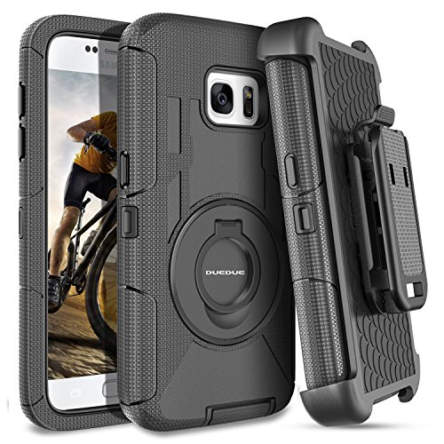 S7 Case,Galaxy S7 Case,DUEDUE Ring Kickstand Belt Clip Holster,Shockproof Heavy Duty Hybrid Hard PC Soft Silicone Full Body Rugged Protective Case for Samsung Galaxy S7 (G930), Black