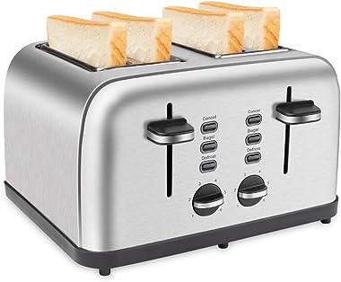 Schloß tostador de 4 ranuras anchas 4 rebanadas tostador de acero inoxidable, función de cancelación/bagel/descongelación 6 a