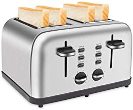 Schloß 4 Slices Toaster Extra-Wide Four Slots Toaster Multifunctions of Cancel Bagel Defrost, 6 Browning Settings Dual Ind...