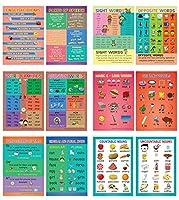 Creanoso 英語学習単語教育ポスター バルクセット 子供用 (24パック) - かわいいギフト 先生 教えるサプライ - 男の子や女の子へのクリスマスプレゼントギフト ホームアクティビティデザイン