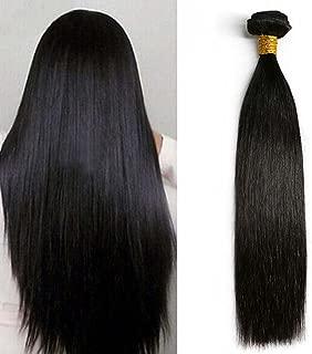 Moresoo 26pulgadas Extensiones de Cortina Cabello Natural #1B Silky Straight Extensiones de Cabello Humano Remy Brasileño Virgen Hair Weave 100g