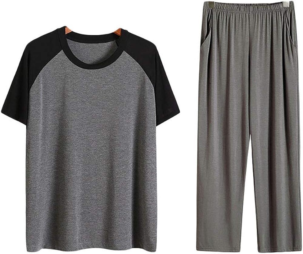 Howriis Men's Short Sleeve Top and Pants Pajama Set Soft Sleepwear Loungewear