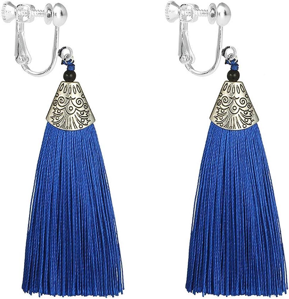 Bohemian Tassel Clip on Earring Long Charm Thread Fringe Jewelry Dangle Vintage for Women