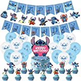 PRATYUS Lilo and Stitch Birthday Party Decorations for Kids Boys Girls Stitch Themed Party Supplies Favors With Banner, Cake Toppers and Latex Balloons