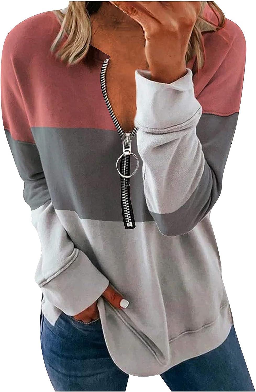 SPOORYYO Womens Color Block Hoodies Pullover Sweatshirt 1/4 Zip-Up Stripe Print Casual Long Sleeve Sweatshirts Activewear