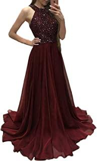 High Neck Prom Dresses Long Beaded Chiffon A Line Evening Party Gowns for Women