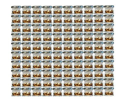 100er Set Sturzgläser Mini Gläser | Füllmenge 30 ml | Deckelfarbe Silber | To 43 Rundgläser Marmeladengläser Obstgläser Einweckgläser Honig Gläser Einmachgläser Probiergläser, Imker
