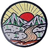 Aufnäher, bestickt, Design: Sonnenaufgang vom Berg, Erk&e Outdoor, zum Aufbügeln oder Aufnähen
