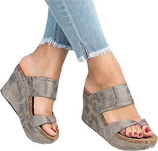 91899f4509d Syktkmx Womens Strappy Platform Wedges Open Toe Slingback Cork Heel Slip on  Thong Sandals