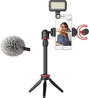 مجموعة فيديو بويا VG350 للهاتف الذكي مع حامل ثلاثي صغير وأنبوب تمديد ومصباح ليد وميكروفون فيديو متوافق مع آيفون 11 و11 برو...