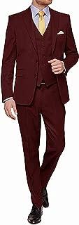 Men's Suit Two Button 3 Pieces Suits Notch Lapel Slim Fit Mens Blazer Tuxedo Jacket
