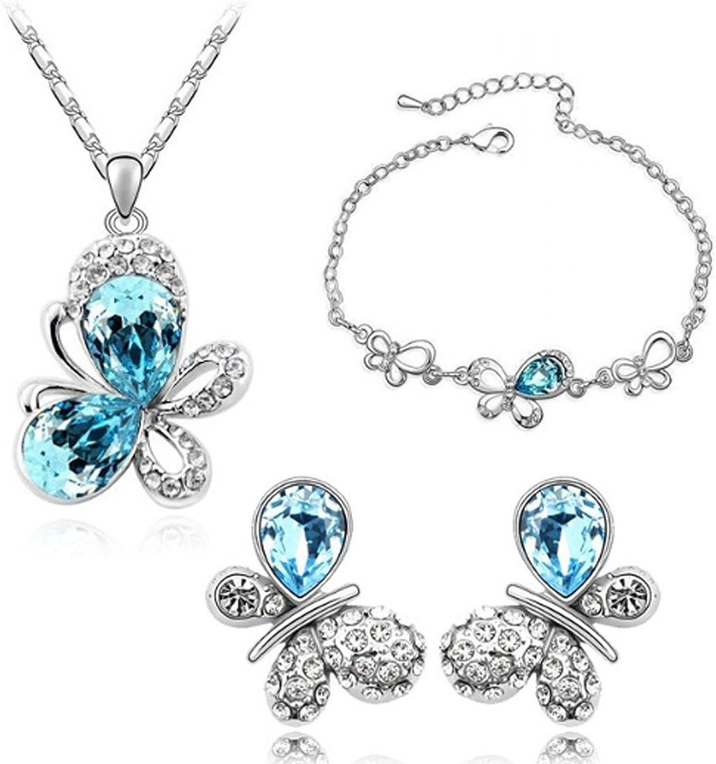 Women Butterfly Pattern Alloy Necklace Pendant Bracelet and Earring Jewelry Sets