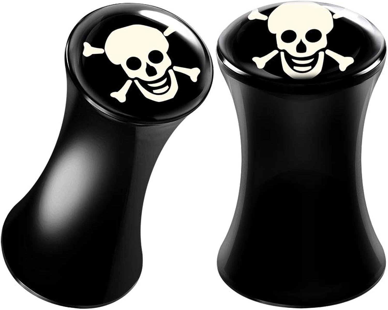 BIG GAUGES Pair of Black Acrylic Skull Logo Double Flared Saddle Piercing Jewelry Stretcher Earring Ear Lobe Flesh Plugs