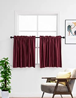 Kitchen Curtains 36 Inches Length 2 Panels Rod Pocket Thermal Insulated Small Window Curtains Blackout Drapes for Nursery ...
