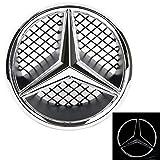 JetStyle Emblème LED pour Mercedes Benz 2005-2013, Insigne sur La Grille Avant De La Voiture, Logo Automatiquement Illuminé, Grille Badge, Anneaux Lumineux, Bagues étoile DRL Lumière de Jour Blanc