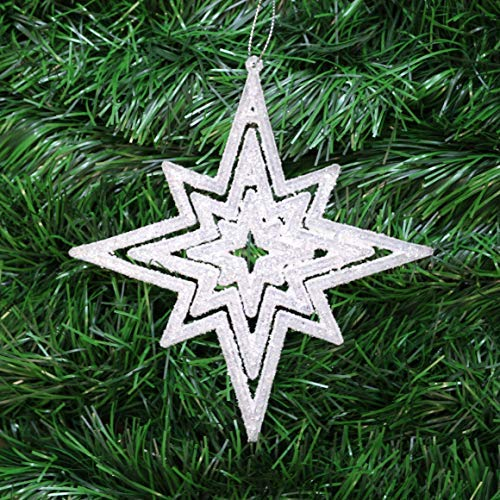 Neuf design set 6 argent strass boule 80mm christmas tree baubles//décorations
