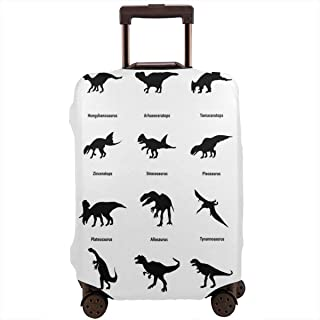 Travel Luggage Cover,Composition Different Dinosaurs Silhouettes With Their Names Evolution Wildlife Suitcase Protector