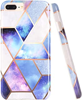 DOUJIAZ Bling Glitter Sparkle Marble Design White Bumper TPU Soft Rubber Silicone Phone Case Compatible with iPhone 7 Plus/8 Plus/6 Plus/6S Plus(Purple Grid)