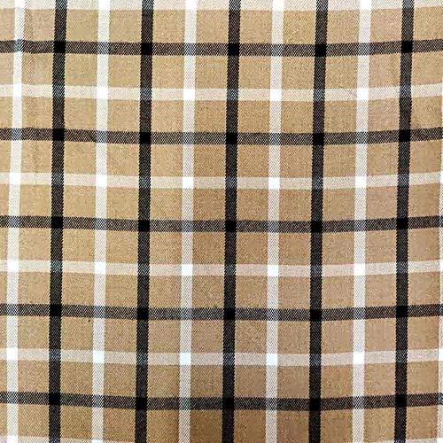 Panini Tessuti, Stoff Tartan, schottisches Muster, Verkauf pro halber Meter, Anzahl = 50 cm; 2 Mengen = 100 cm für Hemden, Röcke, Kilt (Zuschnitt 100 x 145 cm, beige mit weiß und schwarz)